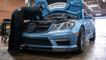 Rare color Mercedes E63 AMG in for spark plugs and water/meth injection maintenance